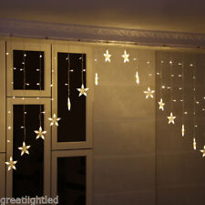10FT Warm White Star Lights 136 LED Fairy Wedding Curtain String Light Christmas