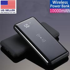 Qi Wireless Power Bank 10000mAh 2 USB Portable Backup Charger External Battery