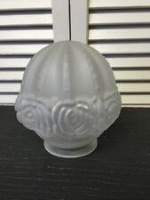 "Vtg Frosted Acorn glass light fixture shade chandelier art deco 3 1/8"" fitter"
