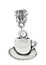 Teacup & Saucer Tea Cup Coffee Drink Dangle Charm for European Bead Bracelets