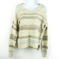 Stitch Fix Skies are Blue Womens Striped Oatmeal Knit Sweater Size L