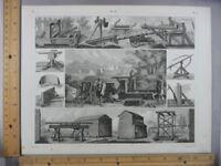 Rare Antique Original VTG 1850s Military Battle War Machines Engraving Art Print