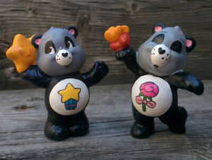 CUSTOM LOT 2 Vintage Care Bear PVC Mini Figure PERFECT & POLITE PANDA Twins 2""