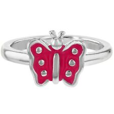 Dotted Fuchsia Pink Enamel Butterfly Baby Children's Girls Ring Rhodium Plated