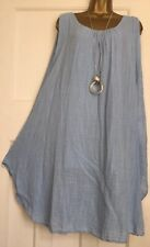 Cheese Cloth Loose Fit Oversized Cotton Sleeveless Baggy DressUK12-24 Light Blue