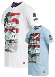 VF066 Brave Soul Herren Shiret 2er T-Shirt Set Navigator Print weiss & blau