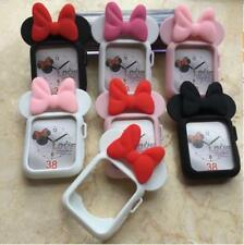 3D Cute Cartoon Minnie Mouse Ear Soft Silicone Case for Apple Watch 4 2 3 Cover