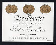SAINT EMILION 1ER GCC VIEILLE ETIQUETTE CHATEAU FOURTET 1919  RARE §22/11§