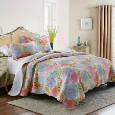 Floral Patchwork BedSpreads Set Quilted Coverlet Pillowcase Queen Size Throw Rug