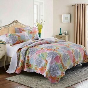 Tropical Floral Patchwork Quilted Queen Size Bedspreads Set Coverlet Throw Rug