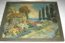 ANTIQUE R. ATKINSON FOX COTTAGE FLOWER GARDEN YARD HOME ART PRINT FRAME FLORAL
