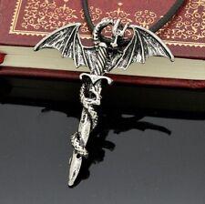 Gothic Kette Kreuz Schwert Drache Flügel Drachen Anhänger mit schwarzem Band NEU