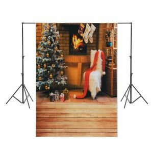 Photography Backdrop Christmas Tree White Chair Stocking Fireplace Studio Prop