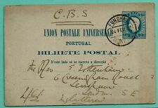 PORTUGAL 20r POSTAL CARD USED MADEIRA to LONDON 1887 [H&G 12, OM 4d]