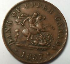 1857 Bank of Upper Canada 1/2 penny BR 720 PC-5D token Almost Unciruclated