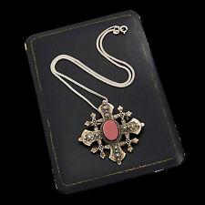 Antique Vintage Nouveau Sterling 900 Silver Jerusalem Amethyst Glass Necklace