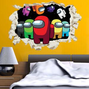 Among Us Impostor Wall Sticker Decal Smashed Crack Crewmate Game Kids Bedroom V2