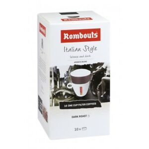 Rombouts Italian Style 10 Individual Filter Coffees 10x62g - 4pack Tracked serv