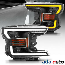 2018 2019 Ford F150 F-150 LED Bar Black Sequential Signal Projector Headlights