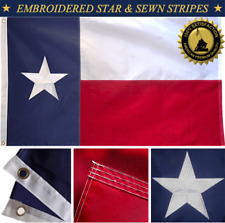 Texas Flag 3'x5' FT Embroidered Star Sewn Stripes Double Stitched Flying Edge