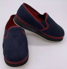 Boys Youth Size 11 Foamtreads Navy Blue & Red Suede Slip On Shoes Slippers