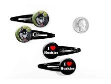 I Love (Heart) Huskies Siberian Dogs Husky Sled Dog Set of 4 Barrettes