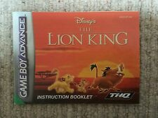 The Lion King - Game Boy Advance GBA Instruction Manual Only