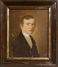 ANTIQUE AMERICAN FOLK ART PAINTING YOUNG MAN BLUE EYES AUSTRIAN IMPORT EXPORT IL