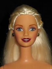 Nude barbie long blonde straight hair with twists smiling sculpt for ooak