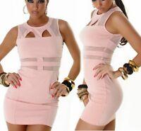 SeXy Miss Damen Mini Kleid Strech Dress transparent Netz out cut 34 36 38 rose