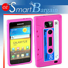CASSETTE TAPE PINK SILICONE SKIN CASE COVER FOR SAMSUNG i9100 GALAXY S2 + SP