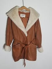Vintage Wilson's Leather Lined Women's Faux Fur Collar Hooded Coat - Size Medium