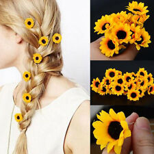 Lady Girl Sunflower Hair Pins Clips Sweet Wedding Party Bridal Prom Hair Decor