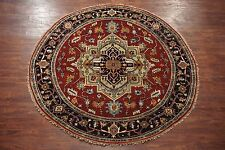 Round 8X8 Serapi Persian Hand-Knotted Veg' Dye Antiqued Wool Area Rug Carpet