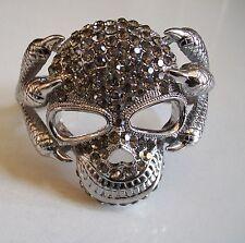 Fashion Silver Finish Crystal Hip Hop Bling Skull With Snakes Bangle Bracelet