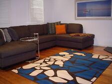 Floor Rug Modern Blue Brown Cream carpet Mat 230 x 160 Pavilion  8461