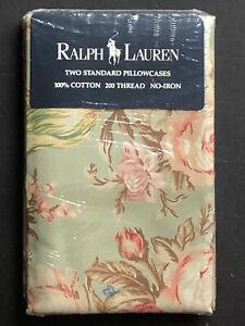 NEW! RALPH LAUREN *Charlotte Green ~STANDARD PILLOWCASES Bedding Floral Flowers