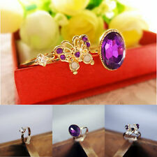 3Pc/Set Womens Rings Charm Butterfly Crystal Vintage Elegant Chic Ring Jewelry