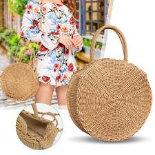 Hand Woven Rattan Straw For Women Basket Round Retro Beach Shoulder Bag Gift