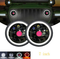 "7"" LED Halo Headlights suits Toyota Land cruiser HZJ75 60 70 73 75 78 79 series"