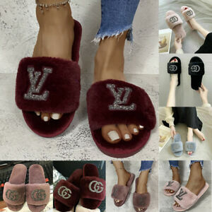 Slides Fur Sliders Slip On Flat Womens Sparkly Diamante Fluffy Slippers Sandals