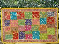 Tenture indienne Patchwork Tapis mural Multicolore Jaune Tapisserie Inde Boho M2