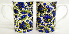 Paisley Mugs Set of 2 Fine Bone China Blue Paisley Mugs Hand Decorated in UK
