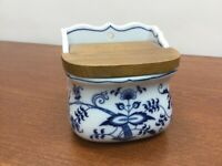"Japan BLUE DANUBE* 4 3/4"" wide  SALT BOX w/ WOOD LID"