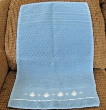 Counted Cross Stitch Blue Towel with White Design | HANDMADE | FREE SHIPPING