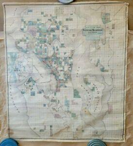 C.1890 ORIGINAL LARGE ANTIQUE COLORED ANDERSON'S CITY OF SEATTLE WASHINGTON MAP