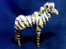 """Vintage African Tribal Art Grass Sculpted Zebra Figurine Doll 6.5"""" Tall"""
