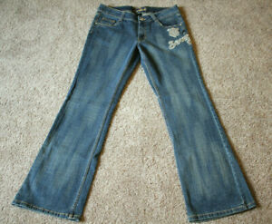 South Pole Applique Embroidered Jeans Womens Mid Rise 31.5 inseam Juniors Size 9