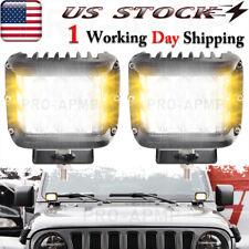 2pcs 60W Amber&White LED Work Side Strobe Light Cube Truck Flash Pods Fog Lights