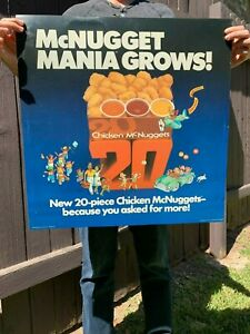 MCDONALD'S CHICKEN MCNUGGET MANIA GROWS TRANSLITE SIGN 1983 80s Vintage Poster